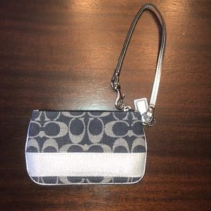 Coach Navy and Silver Wristlet